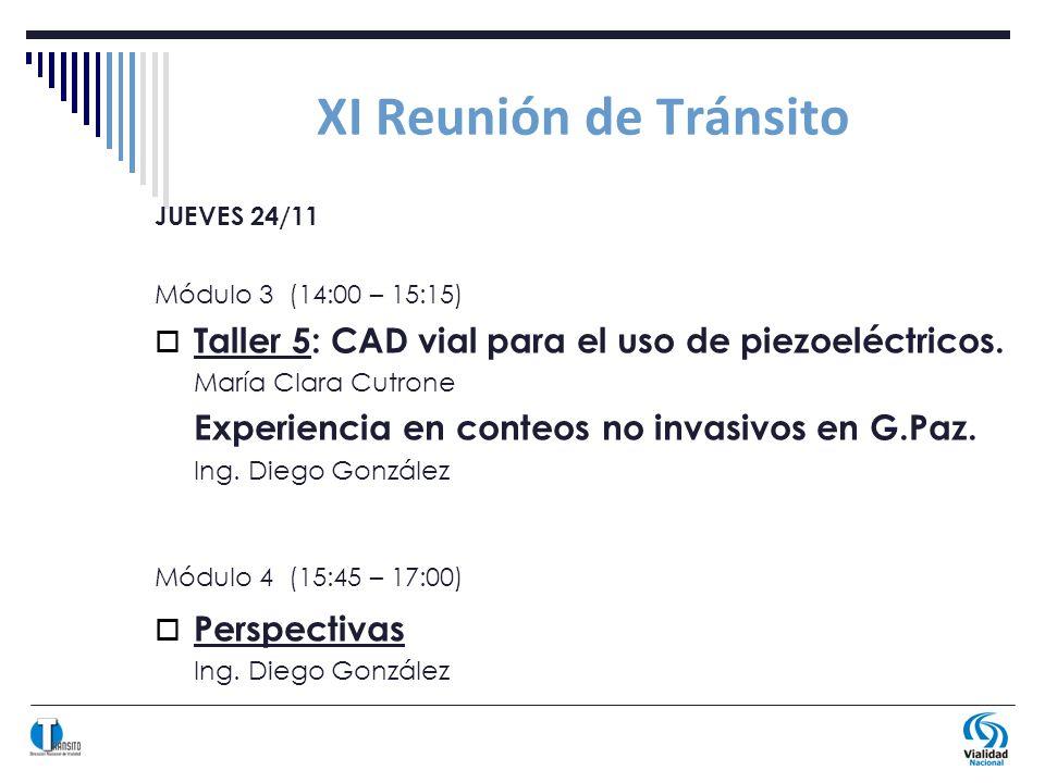 XI Reunión de Tránsito JUEVES 24/11 Módulo 3 (14:00 – 15:15) Taller 5: CAD vial para el uso de piezoeléctricos.