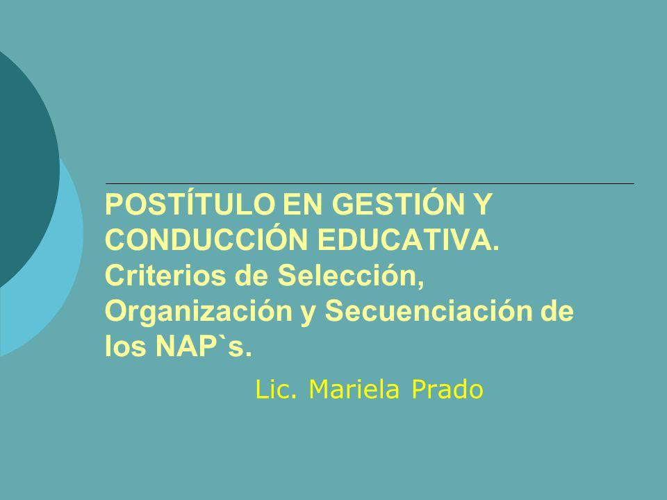 POSTÍTULO EN GESTIÓN Y CONDUCCIÓN EDUCATIVA. Criterios de Selección, Organización y Secuenciación de los NAP`s. Lic. Mariela Prado
