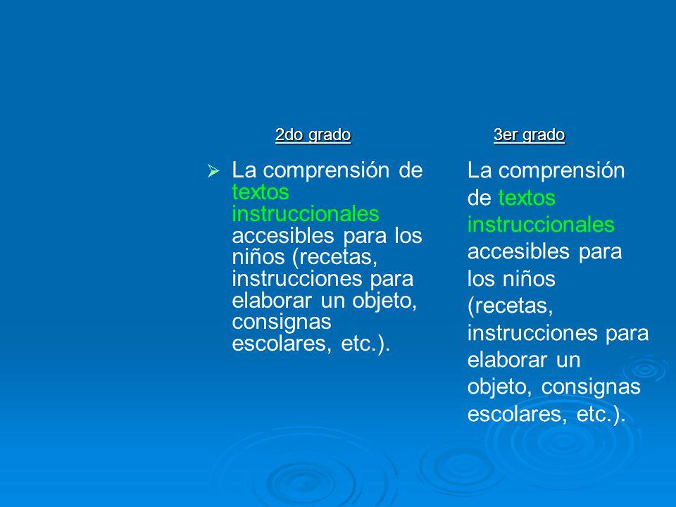 La comprensión de textos instruccionales accesibles para los niños (recetas, instrucciones para elaborar un objeto, consignas escolares, etc.). 2do gr