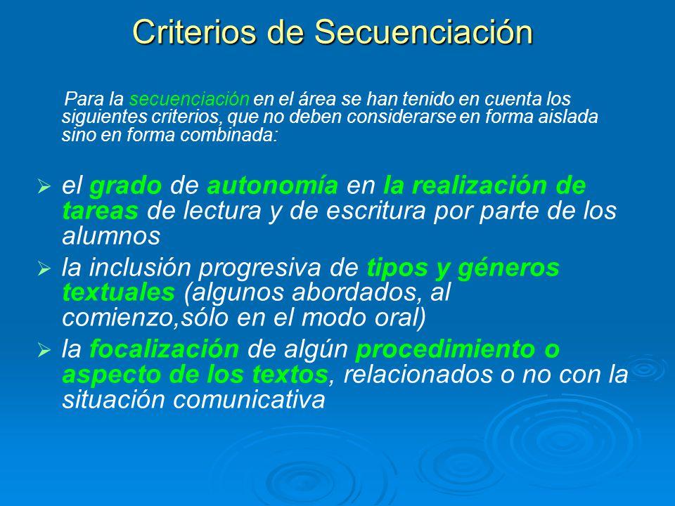 Criterios de Secuenciación Para la secuenciación en el área se han tenido en cuenta los siguientes criterios, que no deben considerarse en forma aisla
