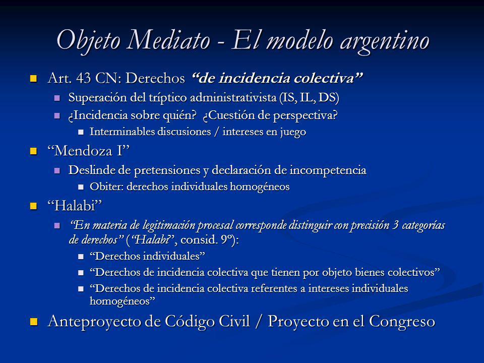 Objeto Mediato - El modelo argentino Art. 43 CN: Derechos de incidencia colectiva Art. 43 CN: Derechos de incidencia colectiva Superación del tríptico