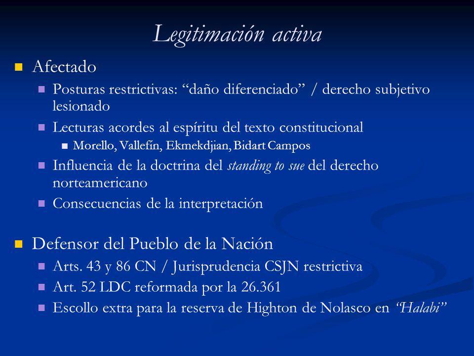 Legitimación activa Afectado Posturas restrictivas: daño diferenciado / derecho subjetivo lesionado Lecturas acordes al espíritu del texto constitucio