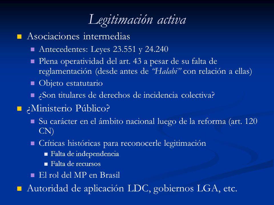Legitimación activa Asociaciones intermedias Antecedentes: Leyes 23.551 y 24.240 Plena operatividad del art. 43 a pesar de su falta de reglamentación