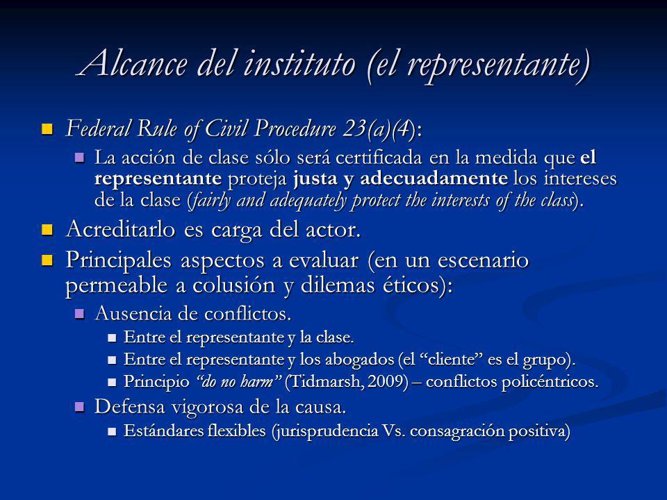Alcance del instituto (el representante) Federal Rule of Civil Procedure 23(a)(4): Federal Rule of Civil Procedure 23(a)(4): La acción de clase sólo s