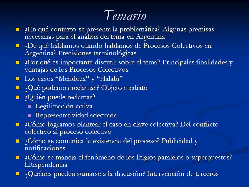 Objeto Mediato - El modelo argentino Art.43 CN: Derechos de incidencia colectiva Art.