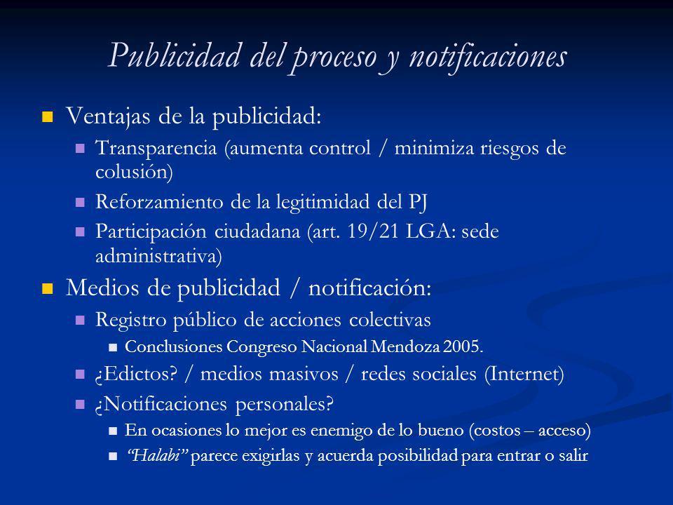 Publicidad del proceso y notificaciones Ventajas de la publicidad: Transparencia (aumenta control / minimiza riesgos de colusión) Reforzamiento de la