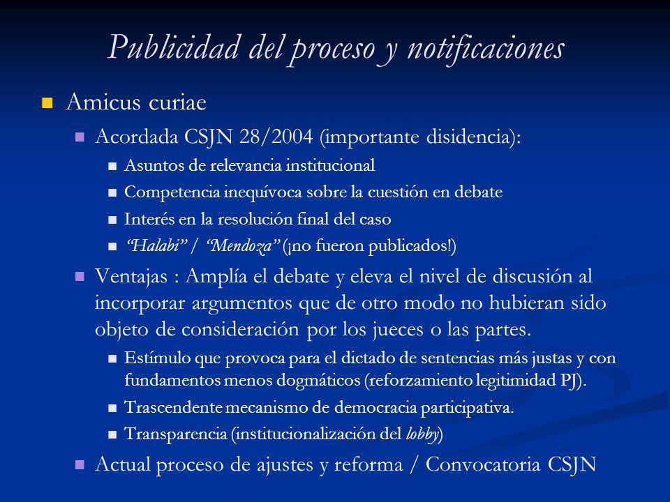 Publicidad del proceso y notificaciones Amicus curiae Acordada CSJN 28/2004 (importante disidencia): Asuntos de relevancia institucional Competencia i