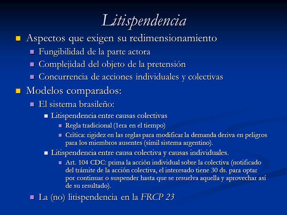 Litispendencia Aspectos que exigen su redimensionamiento Aspectos que exigen su redimensionamiento Fungibilidad de la parte actora Fungibilidad de la