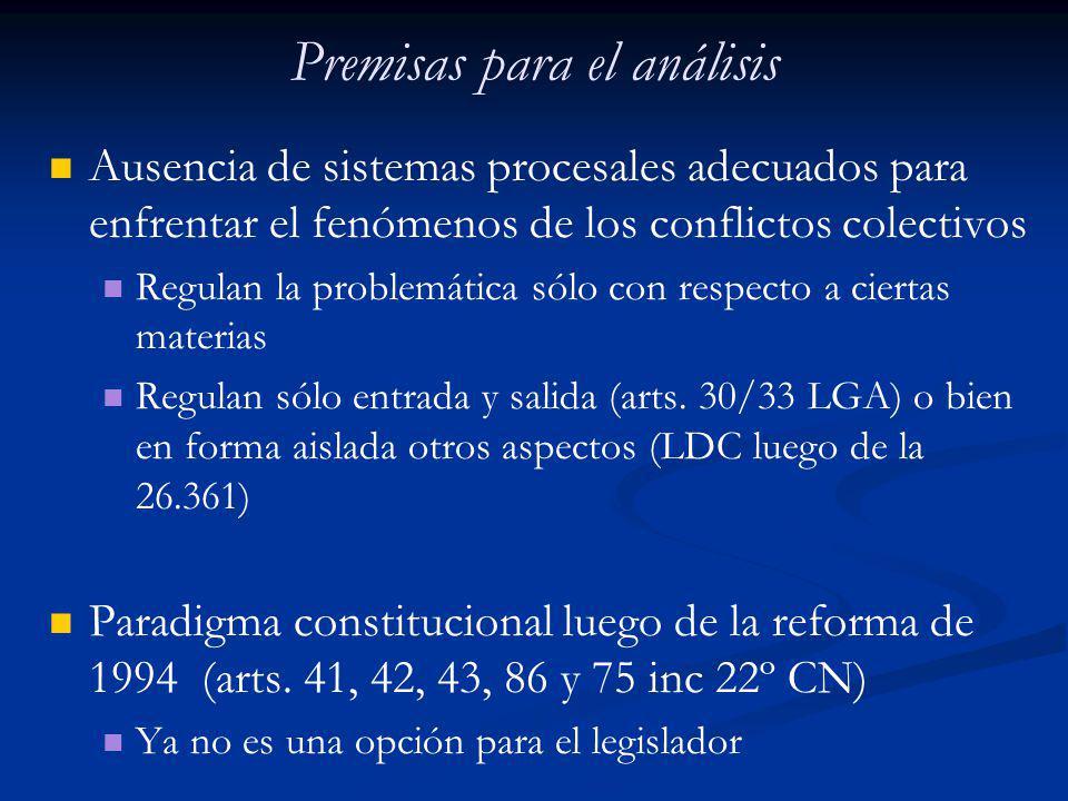 Premisas para el análisis Ausencia de sistemas procesales adecuados para enfrentar el fenómenos de los conflictos colectivos Regulan la problemática s