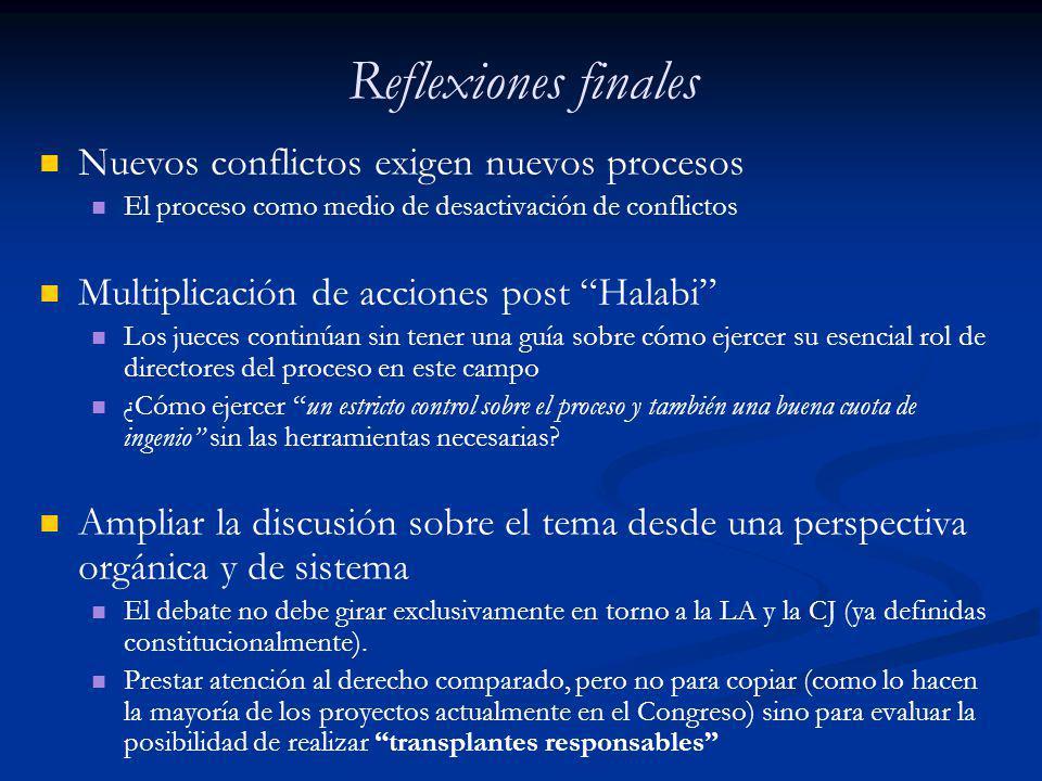 Reflexiones finales Nuevos conflictos exigen nuevos procesos El proceso como medio de desactivación de conflictos Multiplicación de acciones post Hala