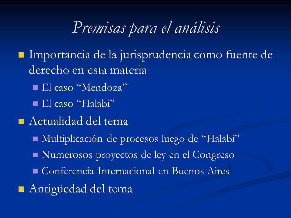 Premisas para el análisis Importancia de la jurisprudencia como fuente de derecho en esta materia El caso Mendoza El caso Halabi Actualidad del tema M
