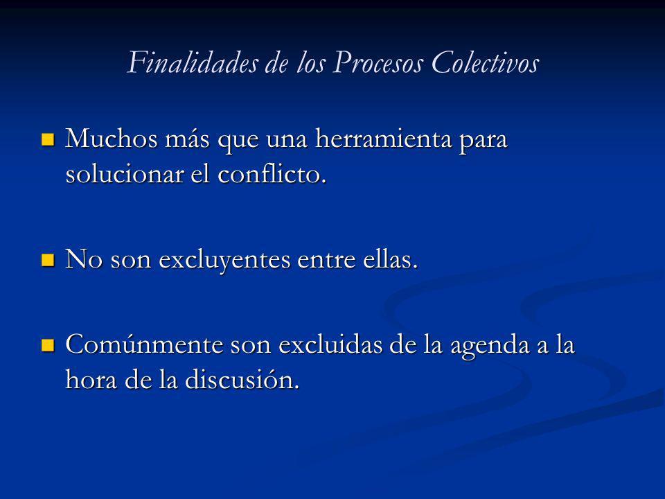 Finalidades de los Procesos Colectivos Muchos más que una herramienta para solucionar el conflicto. Muchos más que una herramienta para solucionar el