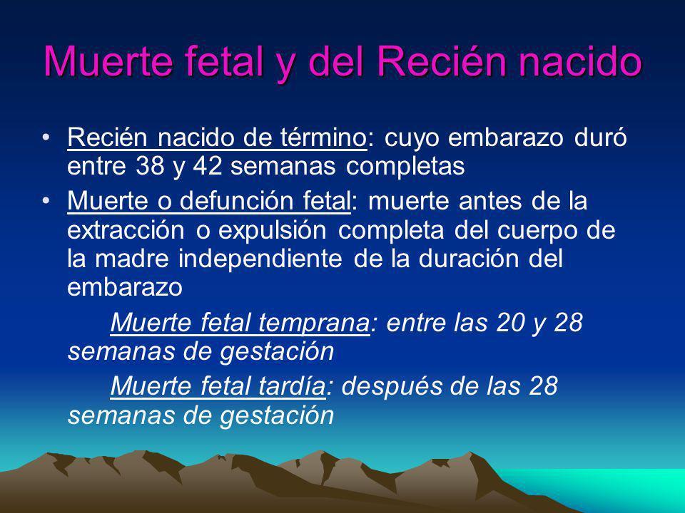 Muerte fetal y del Recién nacido Muerte neonatal: muerte del recién nacido hasta los 28 días de vida muerte neonatal precoz hasta los 7 días muerte neonatal tardía desde el 7º al 28º día Mortalidad perinatal: comprende las muertes fetales y neonatales.