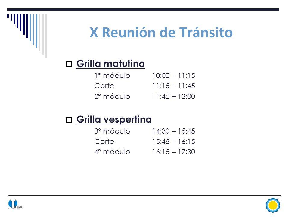 X Reunión de Tránsito Grilla matutina 1º módulo10:00 – 11:15 Corte11:15 – 11:45 2º módulo11:45 – 13:00 Grilla vespertina 3º módulo14:30 – 15:45 Corte15:45 – 16:15 4º módulo16:15 – 17:30