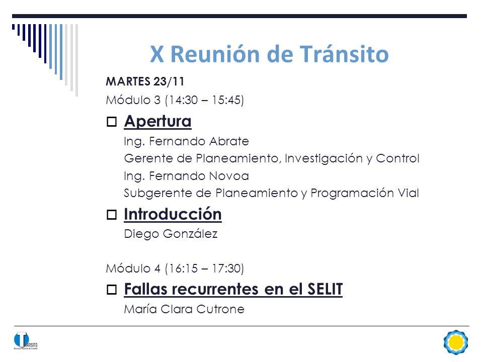 X Reunión de Tránsito MARTES 23/11 Módulo 3 (14:30 – 15:45) Apertura Ing.