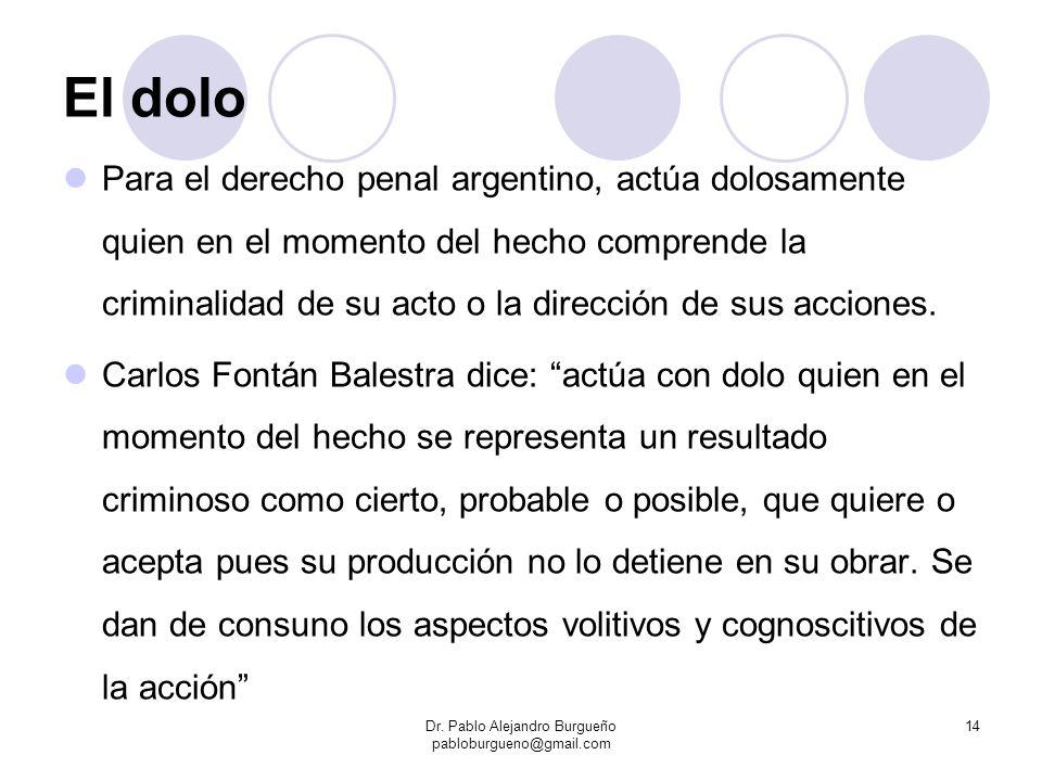El dolo Para el derecho penal argentino, actúa dolosamente quien en el momento del hecho comprende la criminalidad de su acto o la dirección de sus ac