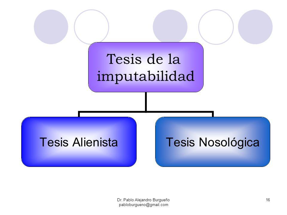 Dr. Pablo Alejandro Burgueño pabloburgueno@gmail.com 16 Tesis de la imputabilidad Tesis Alienista Tesis Nosológica