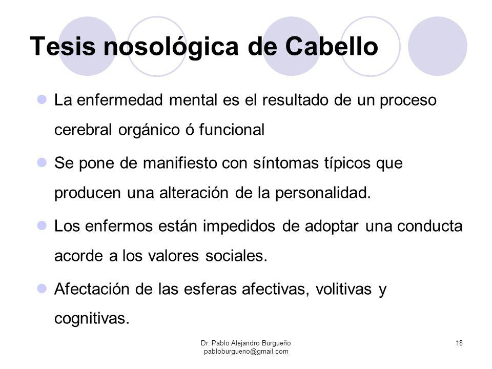Tesis nosológica de Cabello La enfermedad mental es el resultado de un proceso cerebral orgánico ó funcional Se pone de manifiesto con síntomas típico