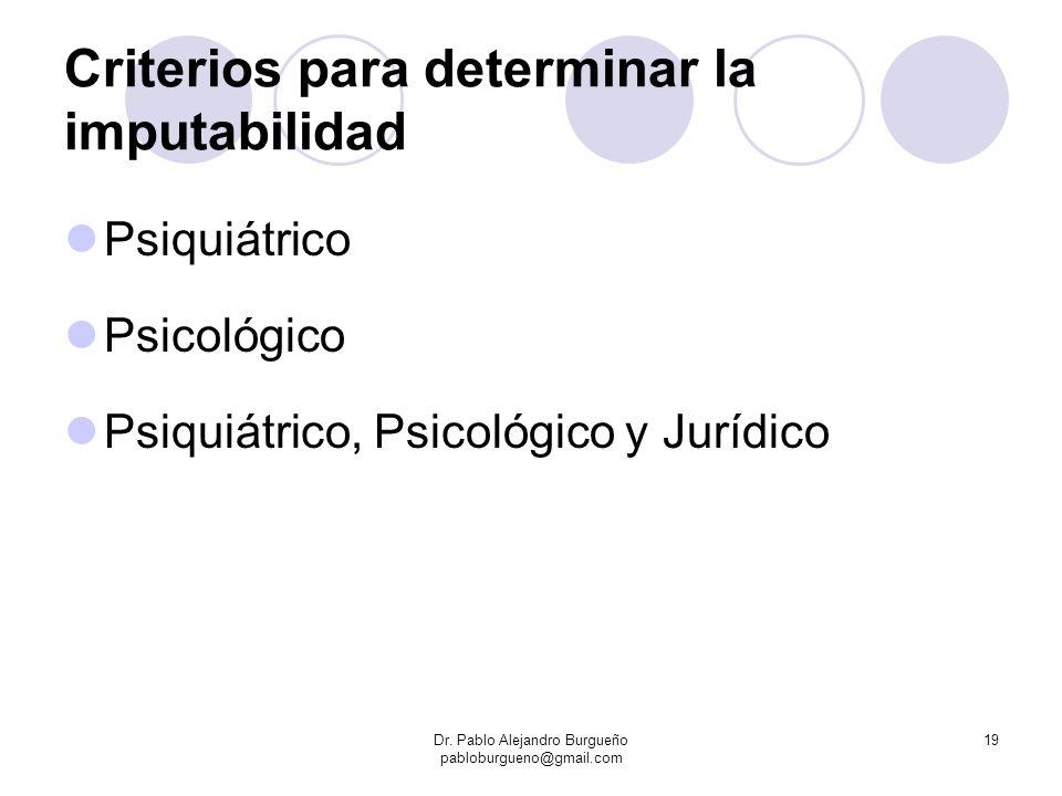 Criterios para determinar la imputabilidad Psiquiátrico Psicológico Psiquiátrico, Psicológico y Jurídico Dr. Pablo Alejandro Burgueño pabloburgueno@gm
