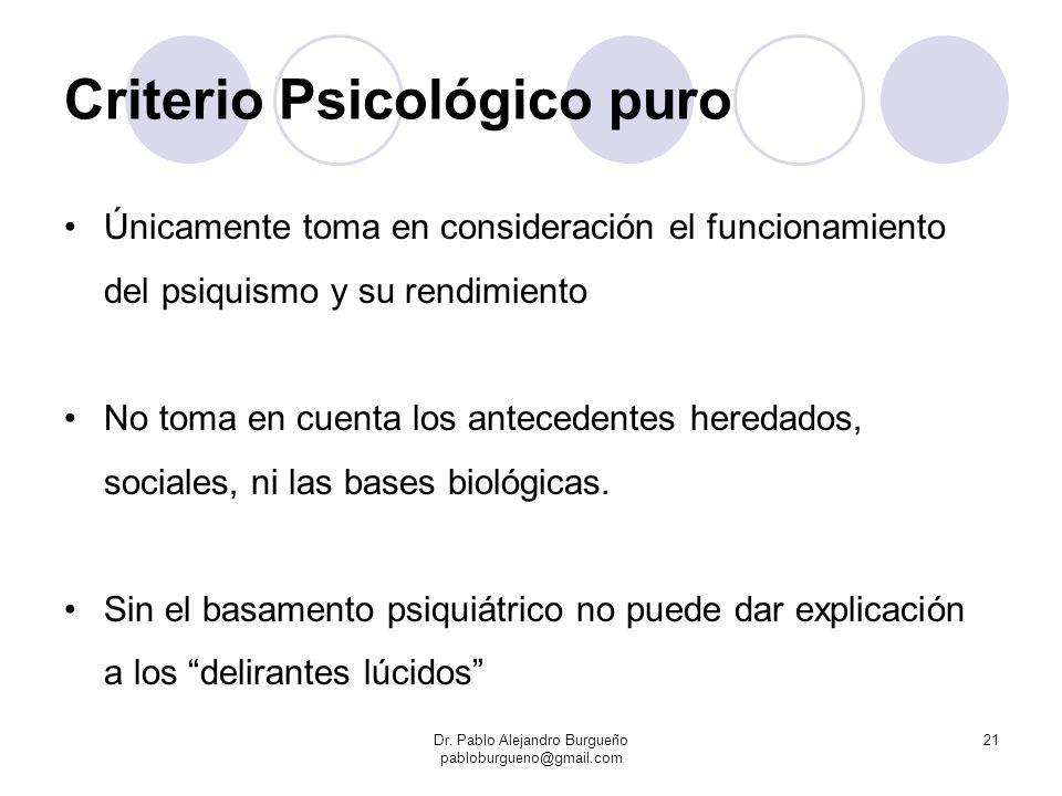 Criterio Psicológico puro Únicamente toma en consideración el funcionamiento del psiquismo y su rendimiento No toma en cuenta los antecedentes heredad
