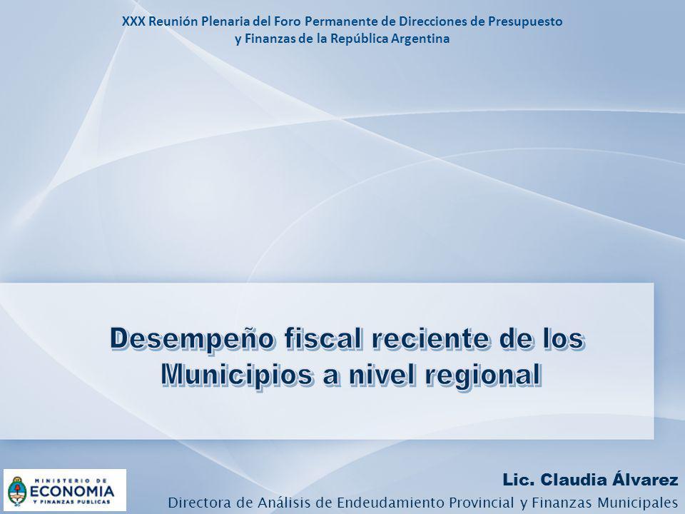 Lic. Claudia Álvarez Directora de Análisis de Endeudamiento Provincial y Finanzas Municipales XXX Reunión Plenaria del Foro Permanente de Direcciones