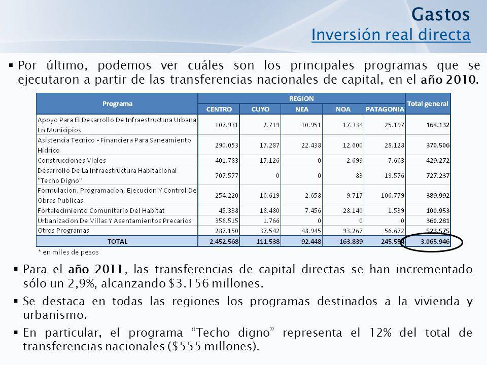 Por último, podemos ver cuáles son los principales programas que se ejecutaron a partir de las transferencias nacionales de capital, en el año 2010. G