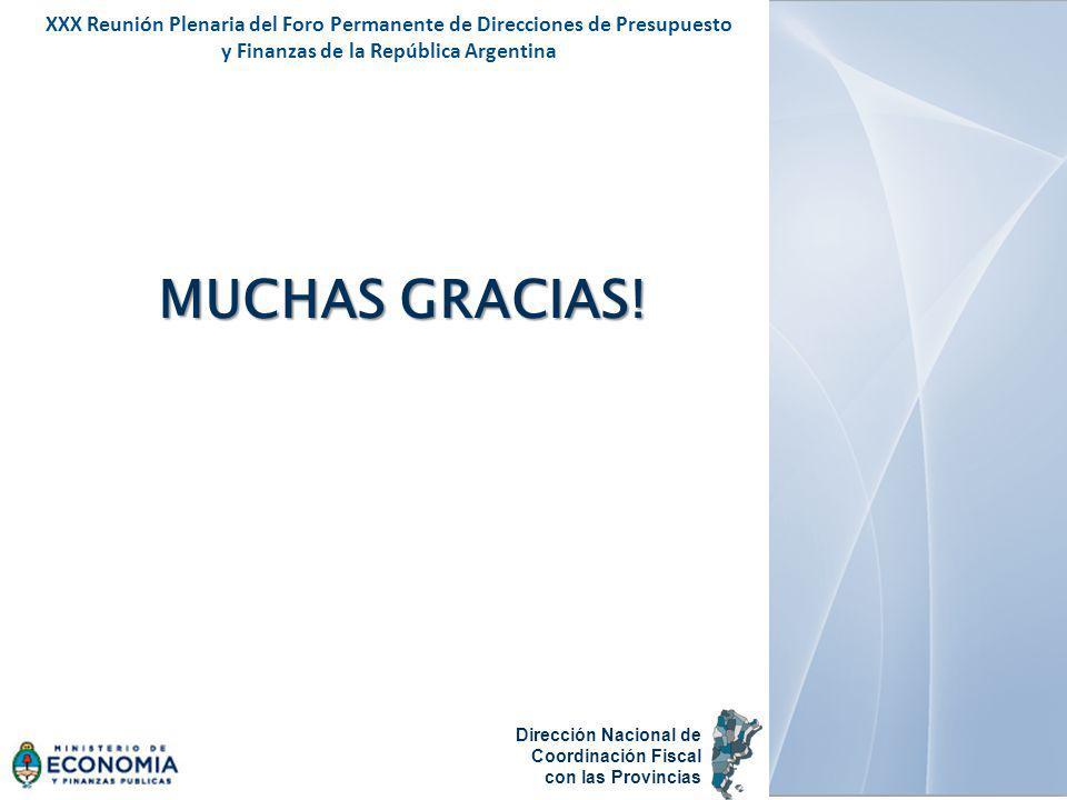 MUCHAS GRACIAS! XXX Reunión Plenaria del Foro Permanente de Direcciones de Presupuesto y Finanzas de la República Argentina Dirección Nacional de Coor
