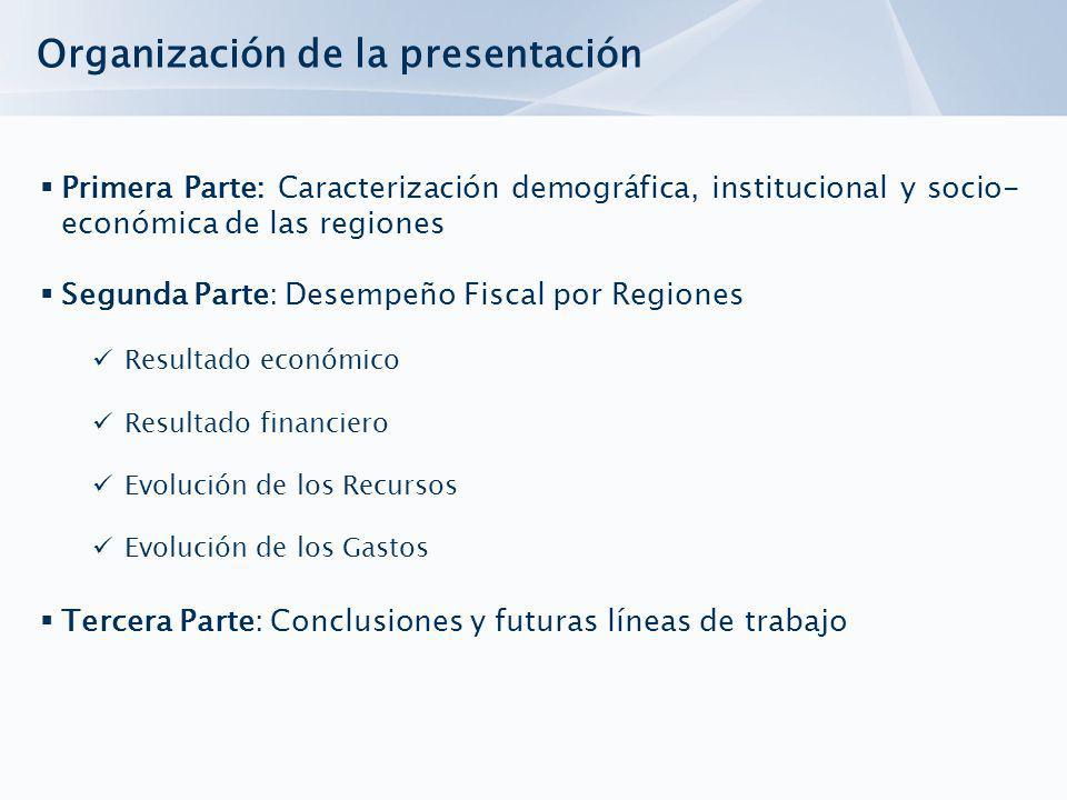 Organización de la presentación Primera Parte: Caracterización demográfica, institucional y socio- económica de las regiones Segunda Parte: Desempeño Fiscal por Regiones Resultado económico Resultado financiero Evolución de los Recursos Evolución de los Gastos Tercera Parte: Conclusiones y futuras líneas de trabajo