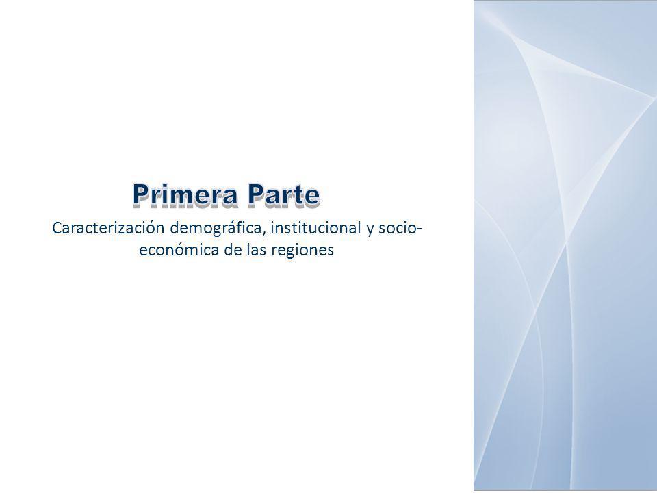 Caracterización demográfica, institucional y socio- económica de las regiones