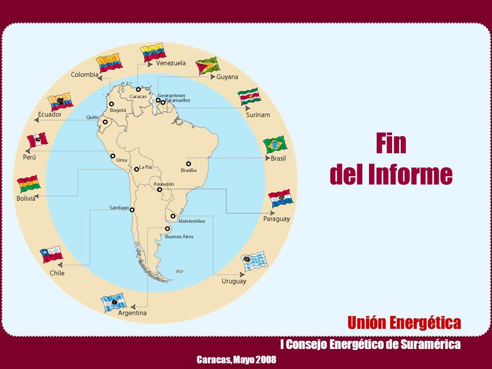 Reunión Preparatoria de Expertos – Caracas, Mayo 2008 10 Fin del Informe Caracas, Mayo 2008 Unión Energética I Consejo Energético de Suramérica