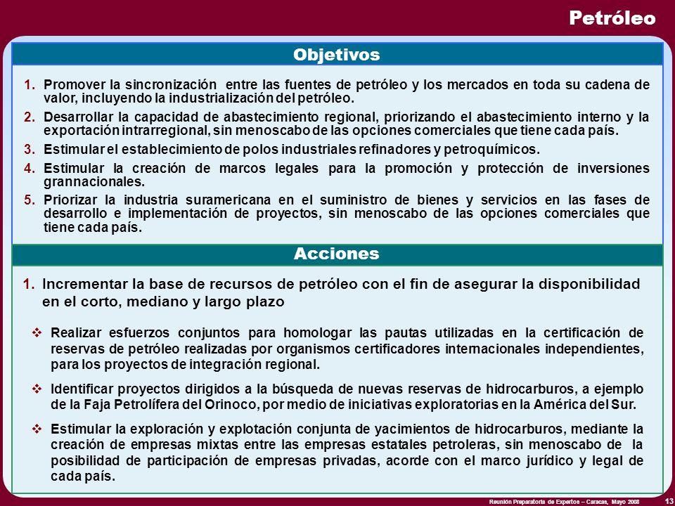Reunión Preparatoria de Expertos – Caracas, Mayo 2008 13 Petróleo Objetivos 1.Promover la sincronización entre las fuentes de petróleo y los mercados