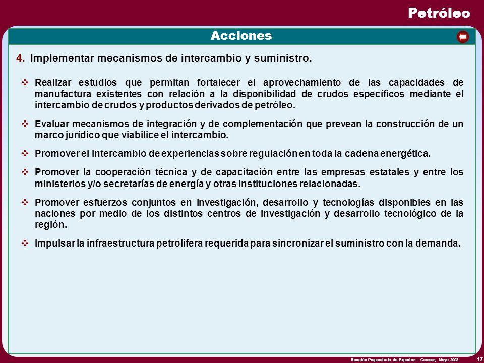 Reunión Preparatoria de Expertos – Caracas, Mayo 2008 17 Petróleo Acciones Realizar estudios que permitan fortalecer el aprovechamiento de las capacid