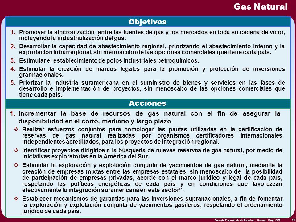Reunión Preparatoria de Expertos – Caracas, Mayo 2008 18 Gas Natural Objetivos 1.Promover la sincronización entre las fuentes de gas y los mercados en