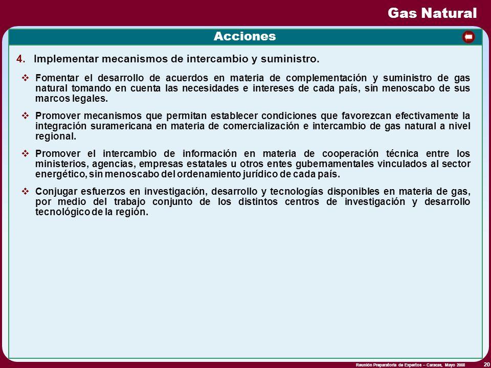 Reunión Preparatoria de Expertos – Caracas, Mayo 2008 20 Gas Natural Acciones 4. Implementar mecanismos de intercambio y suministro. Fomentar el desar