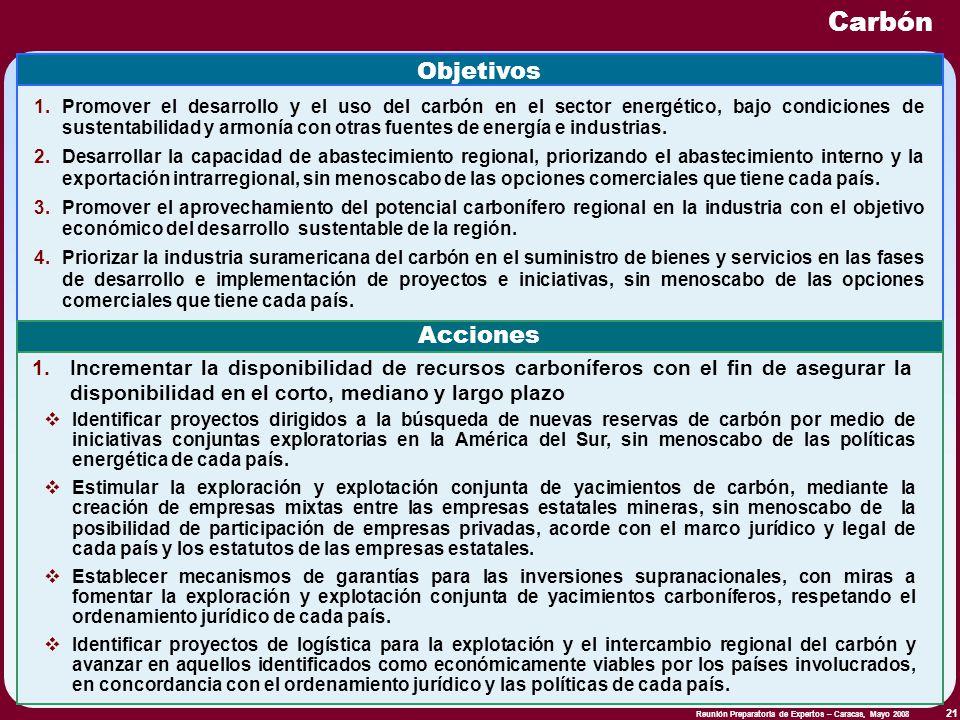 Reunión Preparatoria de Expertos – Caracas, Mayo 2008 21 Carbón Objetivos 1.Promover el desarrollo y el uso del carbón en el sector energético, bajo c