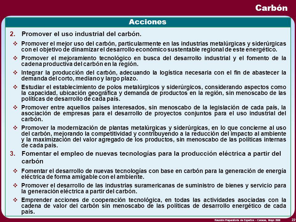 Reunión Preparatoria de Expertos – Caracas, Mayo 2008 22 Carbón Acciones Promover el mejor uso del carbón, particularmente en las industrias metalúrgi