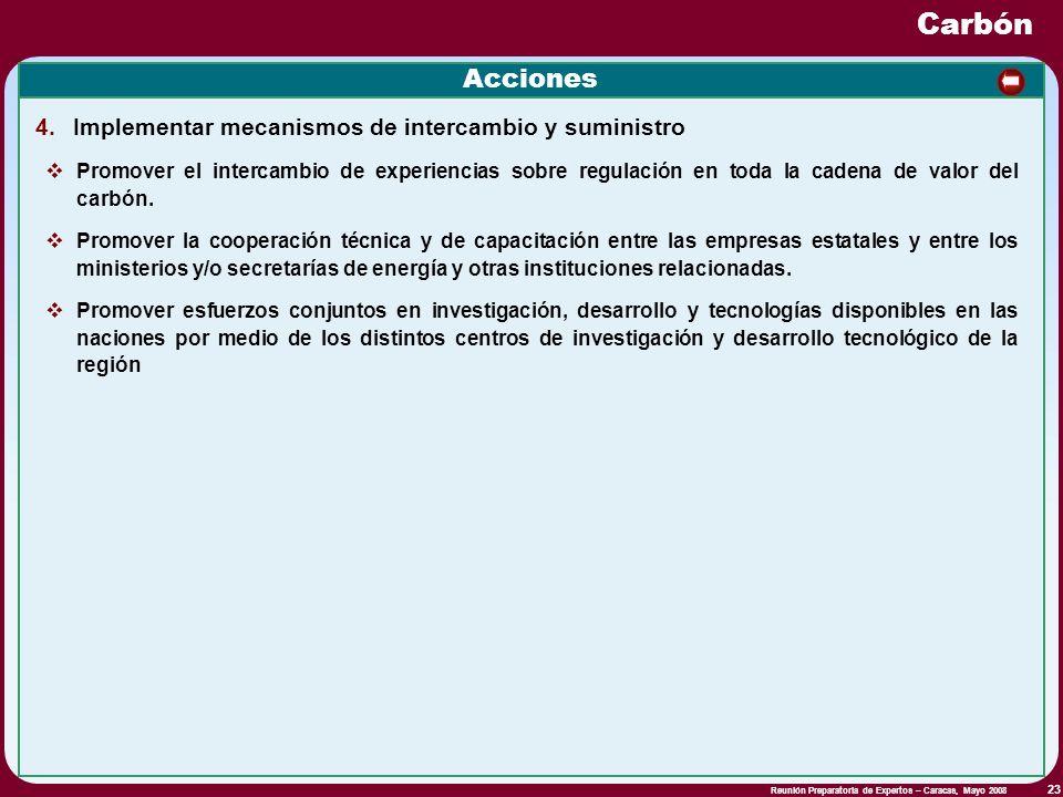 Reunión Preparatoria de Expertos – Caracas, Mayo 2008 23 Acciones 4. Implementar mecanismos de intercambio y suministro Promover el intercambio de exp