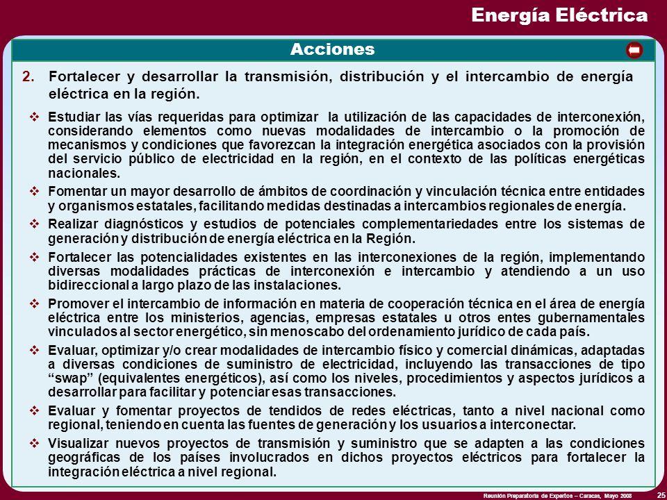 Reunión Preparatoria de Expertos – Caracas, Mayo 2008 25 Acciones Estudiar las vías requeridas para optimizar la utilización de las capacidades de int