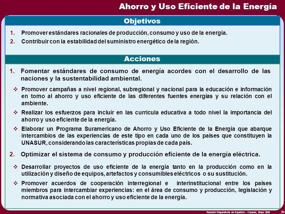 Reunión Preparatoria de Expertos – Caracas, Mayo 2008 30 Ahorro y Uso Eficiente de la Energía Objetivos 1.Promover estándares racionales de producción