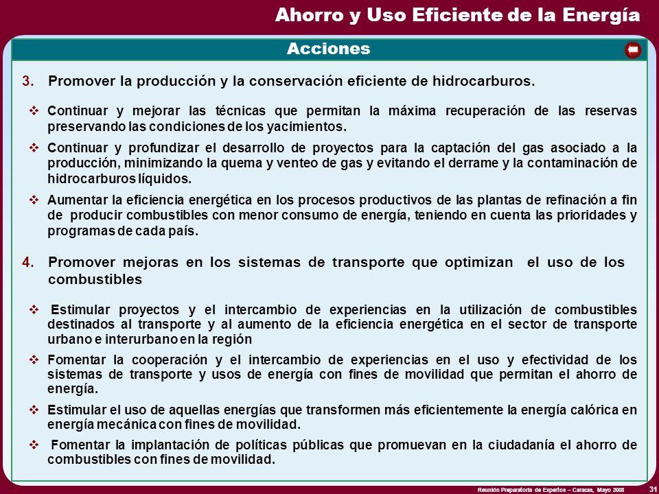 Reunión Preparatoria de Expertos – Caracas, Mayo 2008 31 Acciones Continuar y mejorar las técnicas que permitan la máxima recuperación de las reservas