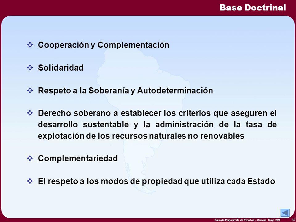 Reunión Preparatoria de Expertos – Caracas, Mayo 2008 32 Cooperación y Complementación Solidaridad Respeto a la Soberanía y Autodeterminación Derecho