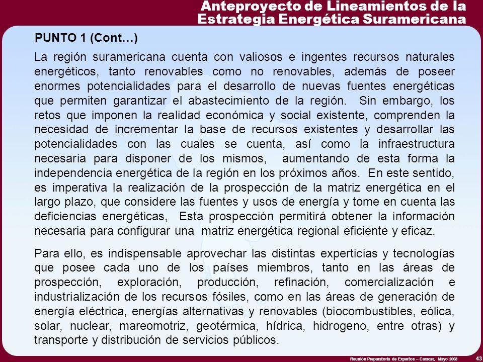 Reunión Preparatoria de Expertos – Caracas, Mayo 2008 43 La región suramericana cuenta con valiosos e ingentes recursos naturales energéticos, tanto r