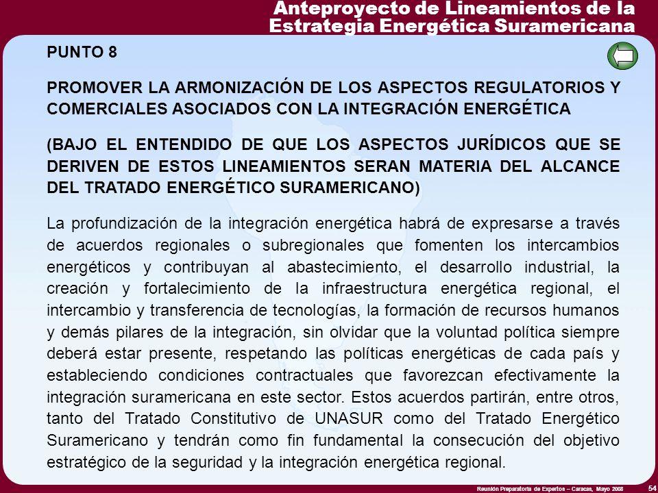 Reunión Preparatoria de Expertos – Caracas, Mayo 2008 54 PUNTO 8 PROMOVER LA ARMONIZACIÓN DE LOS ASPECTOS REGULATORIOS Y COMERCIALES ASOCIADOS CON LA