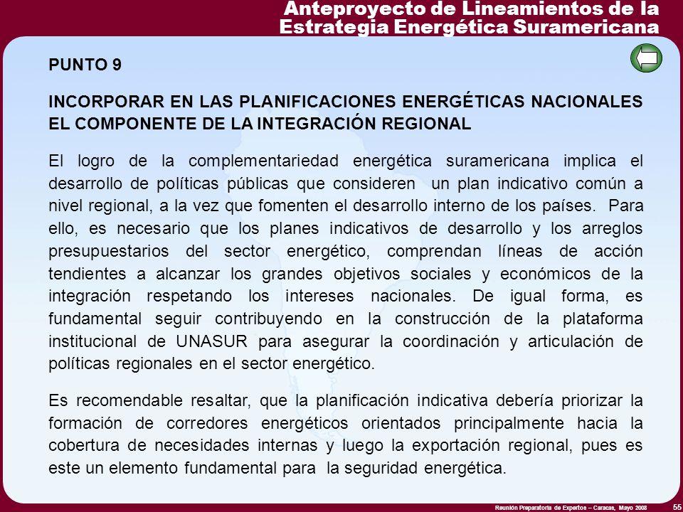 Reunión Preparatoria de Expertos – Caracas, Mayo 2008 55 PUNTO 9 INCORPORAR EN LAS PLANIFICACIONES ENERGÉTICAS NACIONALES EL COMPONENTE DE LA INTEGRAC