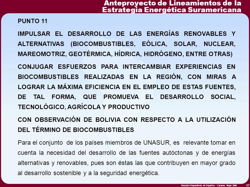 Reunión Preparatoria de Expertos – Caracas, Mayo 2008 57 PUNTO 11 IMPULSAR EL DESARROLLO DE LAS ENERGÍAS RENOVABLES Y ALTERNATIVAS (BIOCOMBUSTIBLES, E