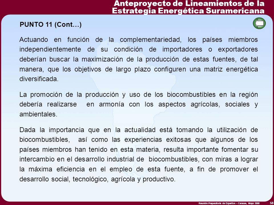Reunión Preparatoria de Expertos – Caracas, Mayo 2008 58 Actuando en función de la complementariedad, los países miembros independientemente de su con