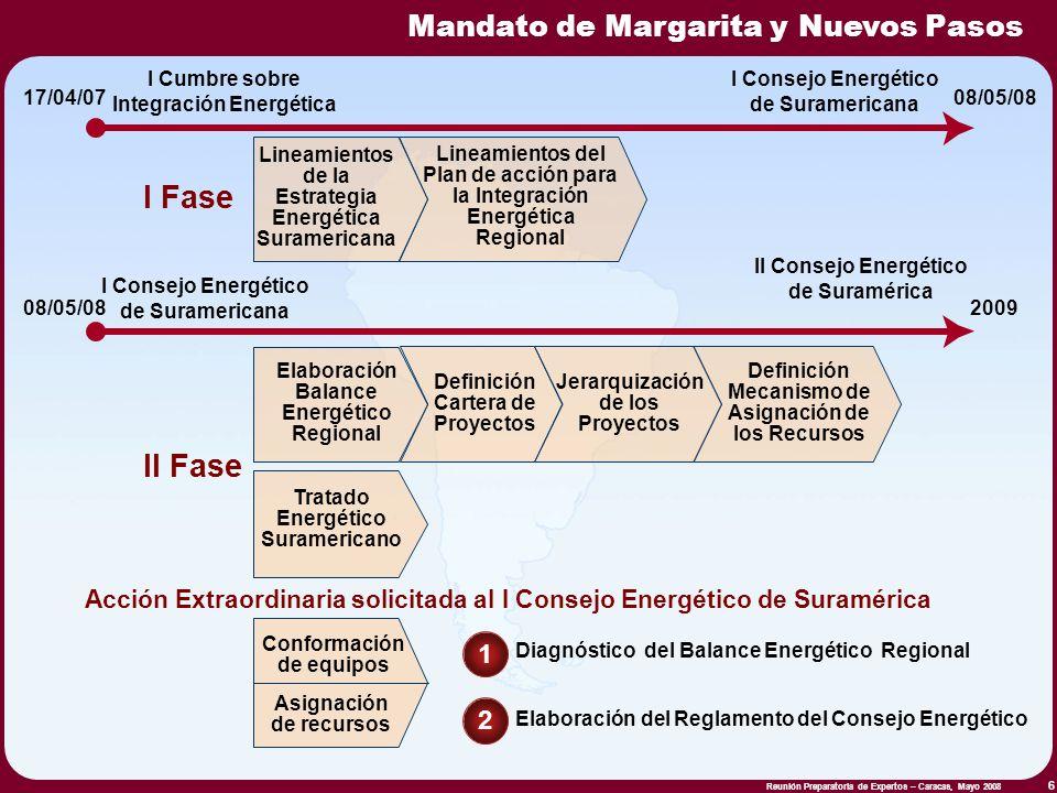 Reunión Preparatoria de Expertos – Caracas, Mayo 2008 6 Lineamientos de la Estrategia Energética Suramericana 17/04/07 I Cumbre sobre Integración Ener