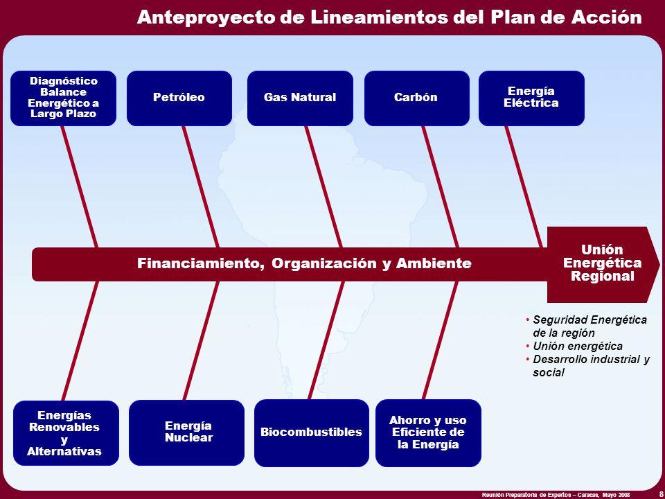 Reunión Preparatoria de Expertos – Caracas, Mayo 2008 8 Diagnóstico Balance Energético a Largo Plazo PetróleoGas Natural Unión Energética Regional Fin