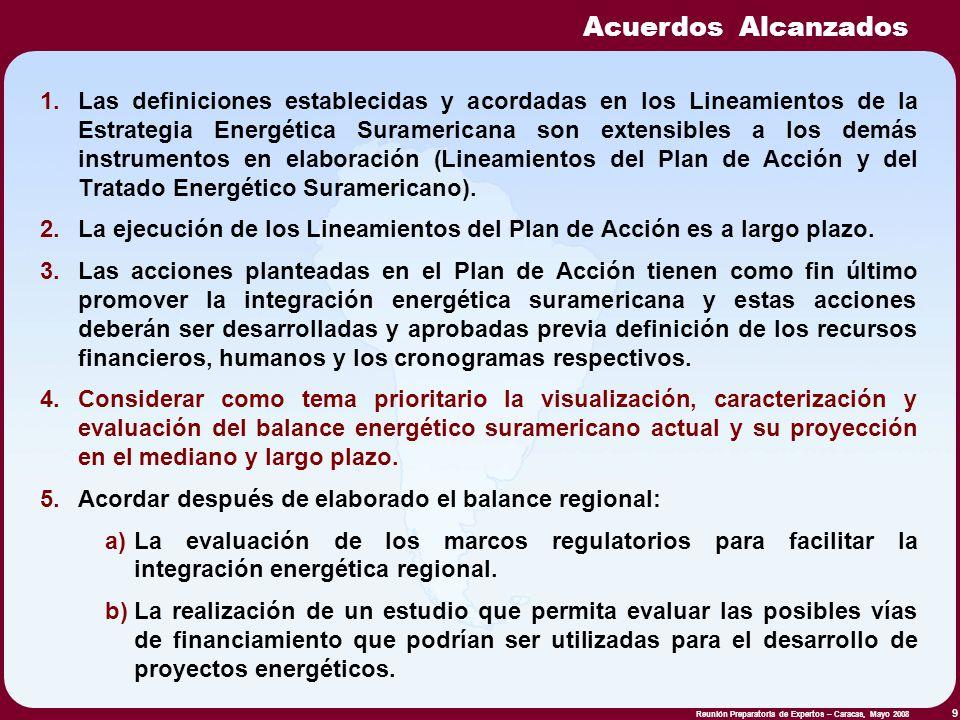 Reunión Preparatoria de Expertos – Caracas, Mayo 2008 9 1.Las definiciones establecidas y acordadas en los Lineamientos de la Estrategia Energética Su