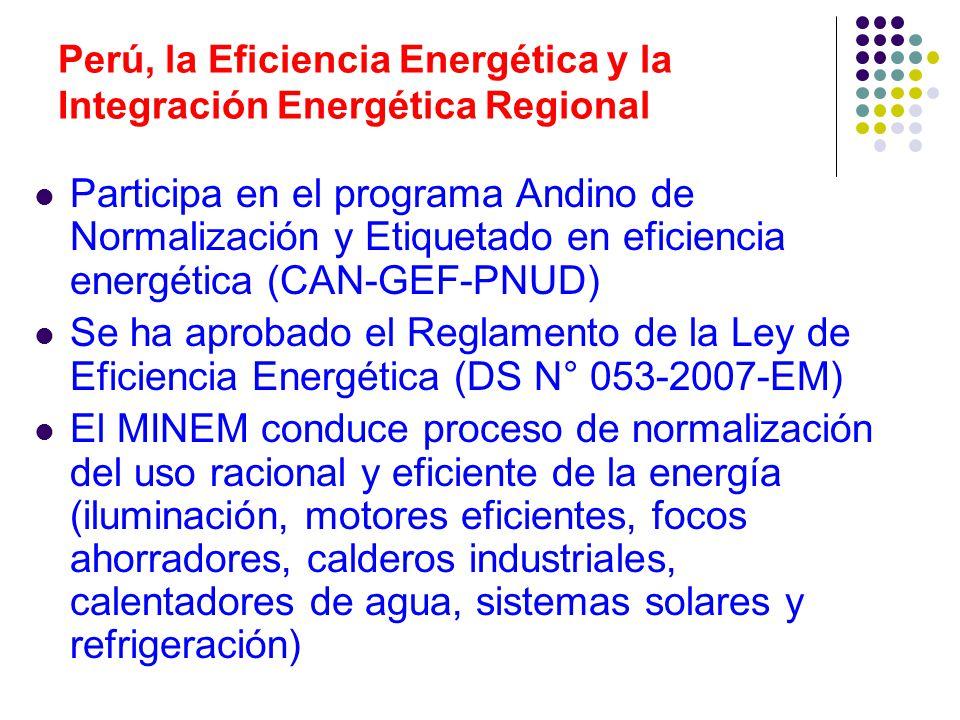 Perú, la Eficiencia Energética y la Integración Energética Regional Participa en el programa Andino de Normalización y Etiquetado en eficiencia energética (CAN-GEF-PNUD) Se ha aprobado el Reglamento de la Ley de Eficiencia Energética (DS N° 053-2007-EM) El MINEM conduce proceso de normalización del uso racional y eficiente de la energía (iluminación, motores eficientes, focos ahorradores, calderos industriales, calentadores de agua, sistemas solares y refrigeración)